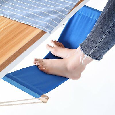 Blue + Portable Ecofriendly Mini Canvas Desk Feet Hammock Office Foot Rest Stand
