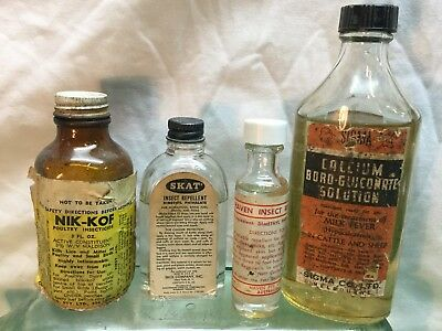 1940s-60s Full Insecticide Paper Label Bottles With Contents