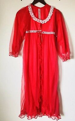 Vintage Red Nylon Nightgown