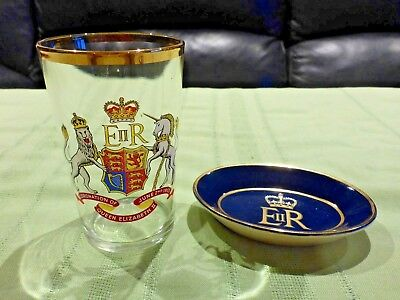Coronation Queen Elizabeth Ii 2 June 1953  2 Items Of Memorabilia Glass And Dish
