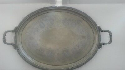 Vintage / Antique , very large silver plated tray with handles