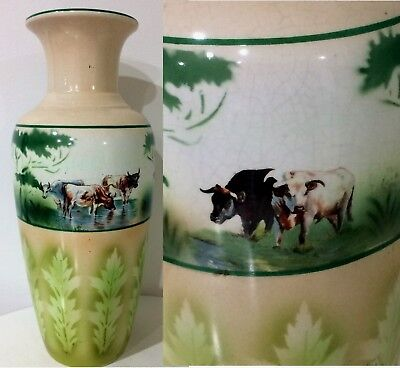 33cm TALL ANTIQUE VASE Hand Painted Cows Water Leaves REPAIR Stoke OnTrent 7 602