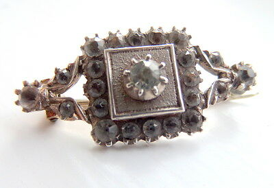 Georgian Silver and Black dot Paste Lace Pin Brooch