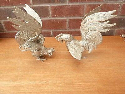 Fabulous Pair Of Large Vintage Silver Coloured Metal Cockerels