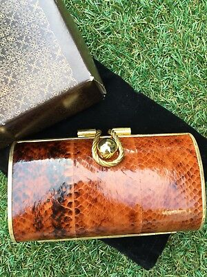 Vintage Hard Shell Clutch Purse Gold Tone With Faux Skin