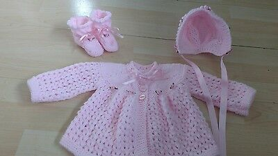 Hand knitted cardigan / matinee coat, bonnet and bootees 0 - 3 months pink