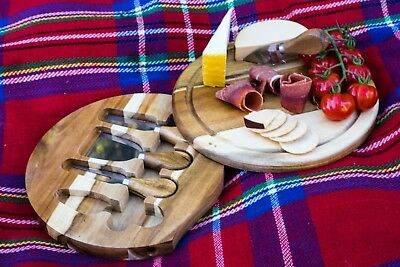 NEW Cheese Serving Board Set 4 Cheese Knives Entertaining Platter  Picnic, Gift