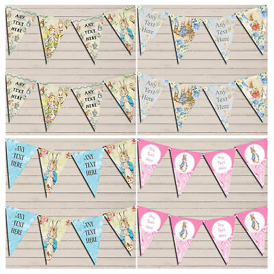 Personalised Peter Rabbit Bunting Birthday Baby Shower Christening Decoration