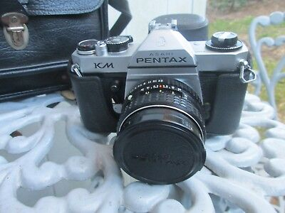 PENTAX Asahi KM SLR Camera Original Manual Books and Vintage Leather Camera Bag