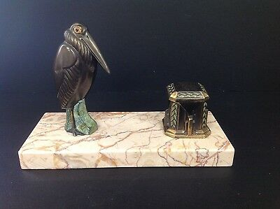 Fabulous! French Art Deco Desk Inkwell in Bronze on marble base Stylised Pelican