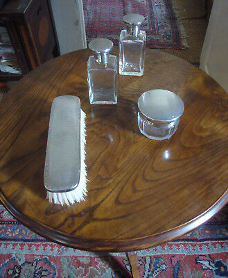 Silver mounted part dressing table set
