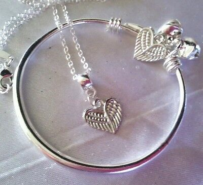 "Angel Wing Heart/Silver 16"" Chain&plain Baby  Bangle/In A Box."