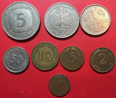 German Coins (8 Coins, From 1 Pfennig To 5 Mark