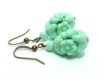 Vintage 1940s green milk glass flower bead earrings to match old necklaces