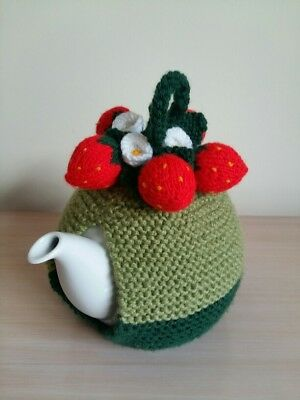 Hand knitted tea cosy, teapot cozy with strawberries, leaves, flowers. Medium