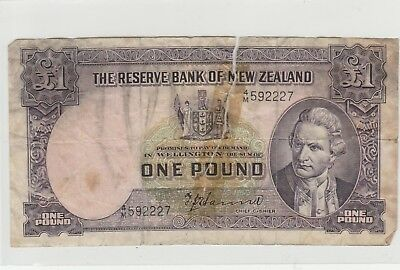 1940 £1 , 1 Pound New Zealand Reserve Bank Note T P Hanna Circulated 227