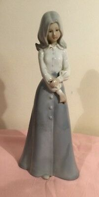 Lady In Blue Statue. Made In Japan