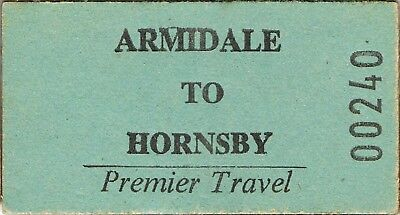 Railway tickets a trip from Armidale to Hornsby by the old NSW SRA