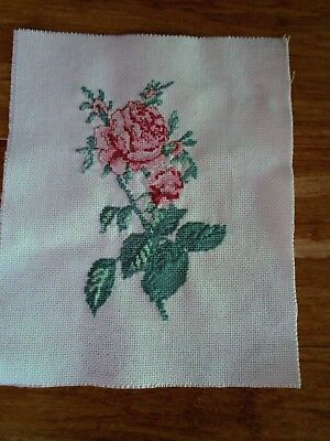 Completed Cross Stitch Of A Red & Pink Rose Stem With 2Flowers & 3 Buds