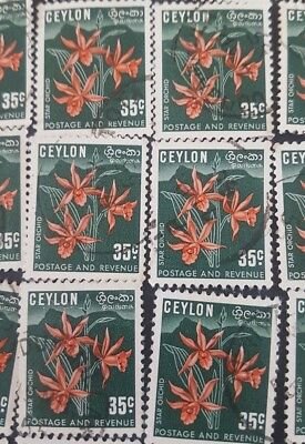 Ceylon Star Orchid  stamps 1951-1952 ~ Cancelled(D35) x15stamps only