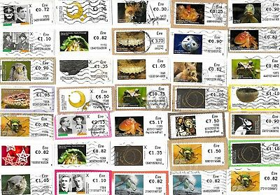 EIRE / IRELAND - Post & Go Labels Kiloware - 105 Labels on Paper, 3 Scans
