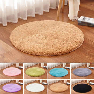 Shaggy Fluffy Rugs Anti-Skid Area Rug Home Room Carpet Round Floor Mat 40-120cm
