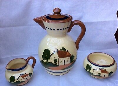 Vintage Watcombe Pottery Motto ware 3 piece Coffee / Tea set - Lovely condition