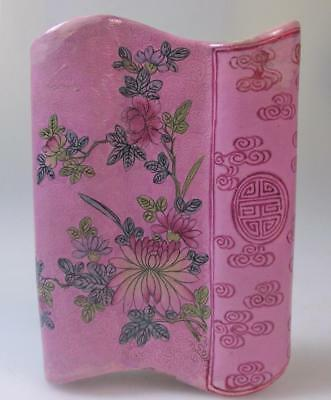 A Chinese Pink ground scrafitto early 19th century wall pocket vase