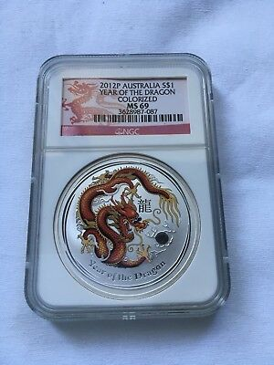 2012P Australian $1 Year Of The Dragon Colorized MS69 1oz .999 Silver Coin