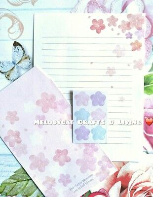 LETTER WRITING SET, PAPER ENVELOPES SEALS, PINK 🌸 Cherry Blossoms 🌸