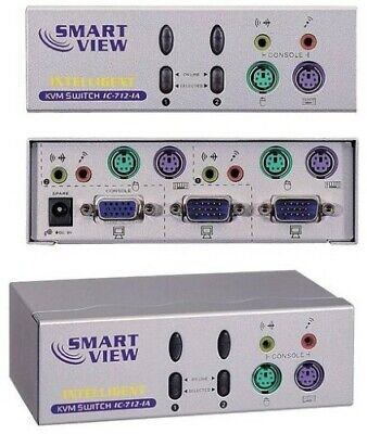 KVM Switch VGA PS2 With Audio Multi Media Version 2 Way Supports Windows™/Linux