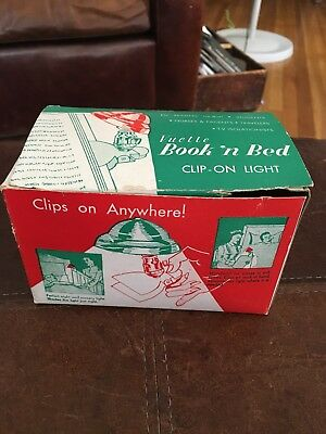 Vintage Vuette Book n Bed Clip On Light Grayish Green Color Metal Shade w box