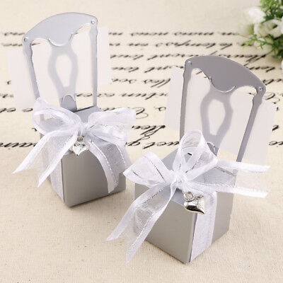 50x Love Sweet Favour Chair Name Card Gift Boxes Wedding Party Decor w Ribbons
