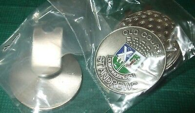 FLAT 1 inch OLD COURSE ST ANDREWS Golf ball marker & Magnetic HAT CLIP