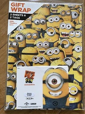 Minions (Despicable Me 2) Birthday Wrapping Paper (2 sheets/2 Tags)