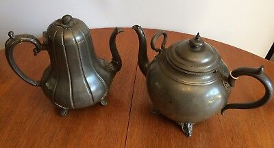 Antique Victorian pewter tea pots PUB shabby chic UPCYCLE garden project
