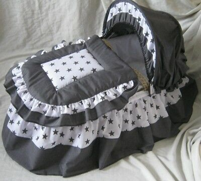 New Design !!  Charcoal Grey And White Moses Basket Cover Set By Babyfanzone