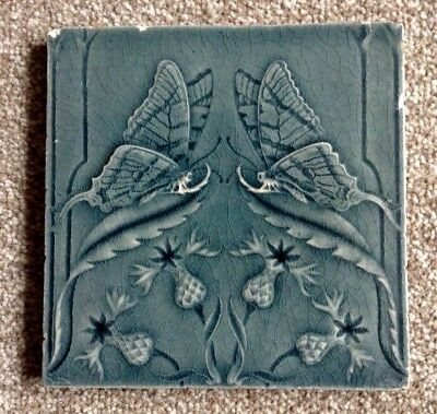 Art Nouveau / Arts and Crafts Thistle/Butterfly Tile Circa 1900 (A)