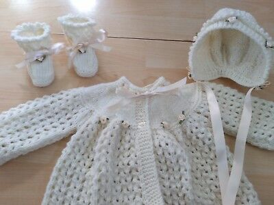 Hand knitted cardigan / matinee coat, bonnet and bootees 0 - 3 months cream