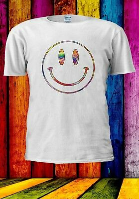 Acid Smiley Face Pastel Trippy House Rave Music Men Women Unisex T-shirt 912