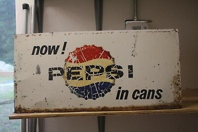 "Vintage Metal PEPSI Metal Advertising Sign 23""x11"""