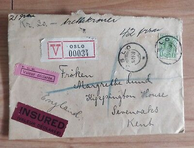 Norway to Uk 1930 insured Oslo to Sevenoaks Letter