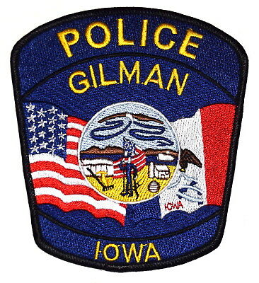 GILMAN IOWA IA Police Sheriff Patch STATE SEAL SOLDIER FLAG US FLAG ~