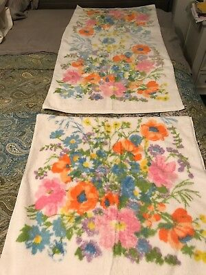 2 Vintage Bath Towels Bright Floral Cannon Royal Family Royal Classic
