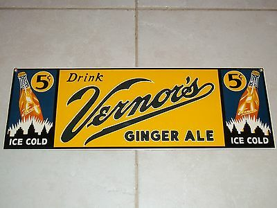 BEWARE! Fake NOT OLD! Fantasy1999 VERNOR'S Ginger Ale PORCELAIN SIGN Ande Rooney