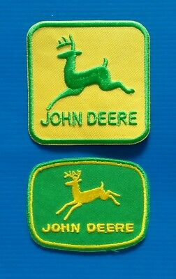 2 JOHN DEERE AGRICULTURE ADVERTISING  Easy Iron/Sew On TRACTOR Patches FREE SHIP