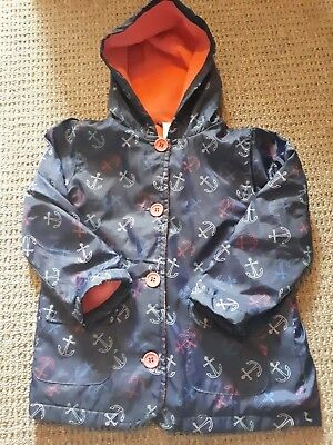 Girls 2-3 Light  Weight Blue Sailor rain Coat Button Up Hooded pink Fleece Lined