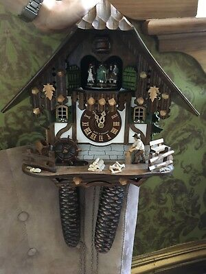 Schneider original vintage cuckoo clock moving figures chalet style 8-day