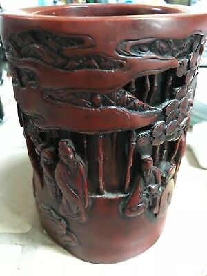Chinese Brush Pot With Intricately Detailed Carved Design Probably Bamboo