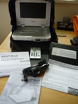 Matsui PL700 portable DVD player case and remote used perfect working order